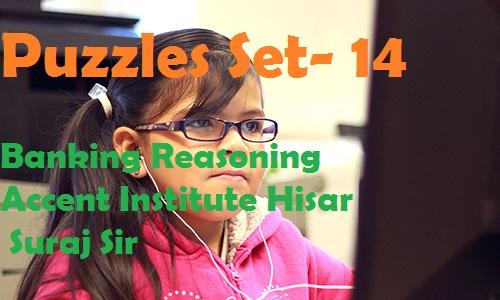 Puzzles Set- 14 – Banking Reasoning – Accent Institute Hisar – Suraj Sir