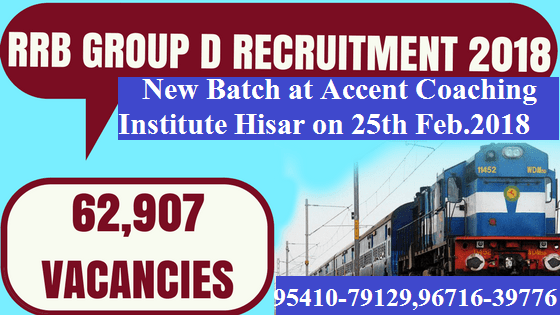 New Railway Group D Batch at Accent Coaching Institute Hisar on 26th Feb.2018