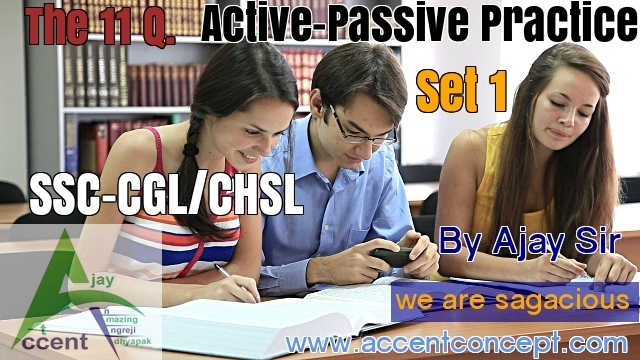 Active Passive Practice Set 1 English by Ajay Sir in Hisar