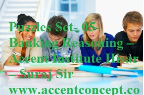 Puzzles Set- 05- Banking Reasoning – Accent Institute Hisar – Suraj Sir