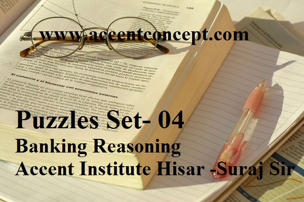 Puzzles Set- 04- Banking Reasoning – Accent Institute Hisar – Suraj Sir