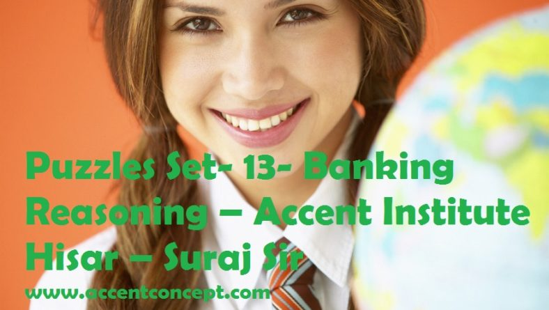 Puzzles Set- 13- Banking Reasoning – Accent Institute Hisar – Suraj Sir