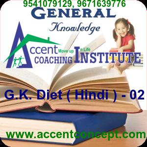 G.K. Diet ( Hindi ) – 02- Accent Institute Hisar