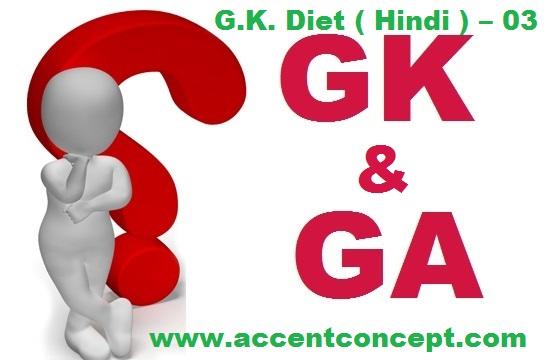 G.K. Diet ( Hindi ) – 03- Accent Institute Hisar