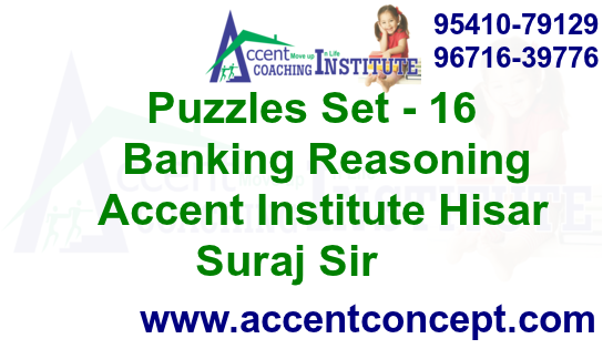 Puzzles Set- 16 – Banking Reasoning – Accent Institute Hisar – Suraj Sir